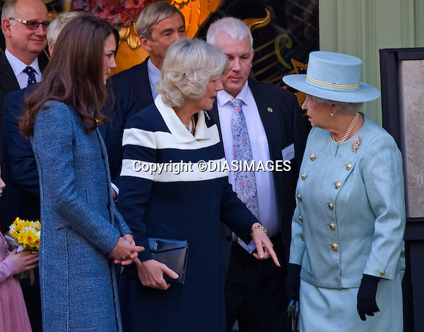 """KATE JOINS QUEEN AND CAMILLA FOR OFFICIAL ENGAGEMENT.The Royal Ladies undertook their first joint engagement when they visited Fortnum & Mason, where the Queen opened a new restaurant..The Queen later unveiled a plaque commenorating her Diamond Jubliee. .In celebration of St. David's Day, the royal ladies were then presented with posys of daffodils_London_01/03/2012.Mandatory credit photo: ©DIASIMAGES..(Failure to credit will incur a surcharge of 100% of reproduction fees)..                **ALL FEES PAYABLE TO: """"NEWSPIX INTERNATIONAL""""**..IMMEDIATE CONFIRMATION OF USAGE REQUIRED:.DiasImages, 31a Chinnery Hill, Bishop's Stortford, ENGLAND CM23 3PS.Tel:+441279 324672  ; Fax: +441279656877.Mobile:  07775681153.e-mail: info@newspixinternational.co.uk"""