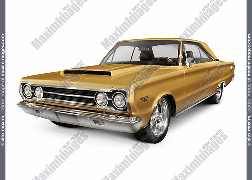 Golden 1967 Plymouth GTX Hemi 426 rare retro vehicle performance muscle car by Chrysler isolated on white background with clipping path