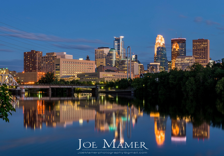 Minneapolis skyline at dusk from Boom Island.
