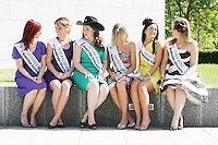 17/8/2010. 2010 Rose of Tralee visit RTE. The Litrim Rose Martha Gilheaney, San Farancisco Rose Roisin Hunt, Texas Rose Adrienne Hussey, Darwin Rose Valerie O Halloran and Cork Rose Laura Mitchell are pictured at the RTÉ studios in Donnybrook Dublin. The Rose of Tralee International Festival, which runs from Friday 20th to Tuesday 24th of August, culminates in the live televised International Rose Selection on RTÉ One, hosted for the first time by Dáithí O Sé. The show will be broadcast from 8pm on Monday and Tuesday the 23rd and 24th of August, with a break for the Nine O' Clock News on both nights. The show will also be streamed live around the world at www.rte.ie. Picture James Horan/Collins Photos