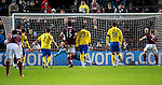 Hearts v St Johnstone...03.12.11   SPL .Peter Enckelman saves Jamie Hamill's penalty.Picture by Graeme Hart..Copyright Perthshire Picture Agency.Tel: 01738 623350  Mobile: 07990 594431
