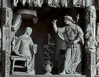 Mary is kneeling when the angel Gabriel appears to her to announce that she will have a baby, the son of God. The Annunciation, by Jean Soulas, upper scene from the choir screen, 1519-25, Chartres Cathedral, Eure-et-Loir, France. These sculpted scenes show the change in style from Gothic to Renaissance in the early 16th century in France. Chartres cathedral was built 1194-1250 and is a fine example of Gothic architecture. It was declared a UNESCO World Heritage Site in 1979. Picture by Manuel Cohen.