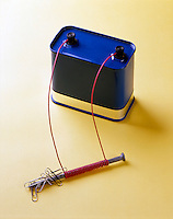 ELECTROMAGNET: 12V BATTERY-WIRE COILED AROUND NAIL<br /> Electric Current Creates A Magnetic Field<br /> Magnetic field created by flow of electrons through the copper wire attracts paper clips- carpet tacks &amp; screws; deflects compass needle.