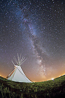Milky Way over Tipi at Siksika Skies, Blackfoot Crossing Historical Park, Canada. October 2, 2010.