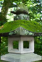 A moss covered stone lantern at the Akimiya Shrine, Suwa Taisha, Shimosuwa, Nagano, Japan. September 4 2008