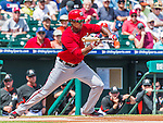 10 March 2015: Washington Nationals outfielder Michael Taylor attempts a bunt single leadoff during a Spring Training game against the Miami Marlins at Roger Dean Stadium in Jupiter, Florida. The Marlins edged out the Nationals 2-1 on a walk-off solo home run in the 9th inning of Grapefruit League play. Mandatory Credit: Ed Wolfstein Photo *** RAW (NEF) Image File Available ***
