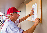 13 March 2016: Washington Nationals Bench Coach Chris Speier posts the lineup in the dugout prior to a pre-season Spring Training game against the St. Louis Cardinals at Space Coast Stadium in Viera, Florida. The teams played to a 4-4 draw in Grapefruit League play. Mandatory Credit: Ed Wolfstein Photo *** RAW (NEF) Image File Available ***