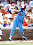 CHICAGO - JUNE 1989:  Tim Raines of the Montreal Expos bats during an MLB game versus the Chicago Cubs at Wrigley Field in Chicago, Illinois.  Raines played for the Expos from 1979-1990. (Photo by Ron Vesely)  Subject:  Tim Raines