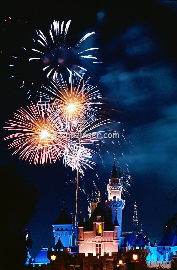 Fireworks Display, Cinderella Castle, iconic, fairy-tale fortress, Fantasyland,  Magic Kingdom, theme park, Disneyland,