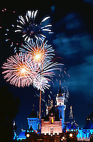 Fireworks Display, Cinderella Castle, iconic, fairy-tale fortress, Fantasyland,  Magic Kingdom, theme park, Disneyland,