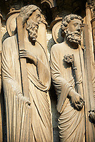 South Porch left jam. Gothic statue of (left) Andrew and Peter with cross and keys. Cathedral of Chartres, France.  A UNESCO World Heritage Site.