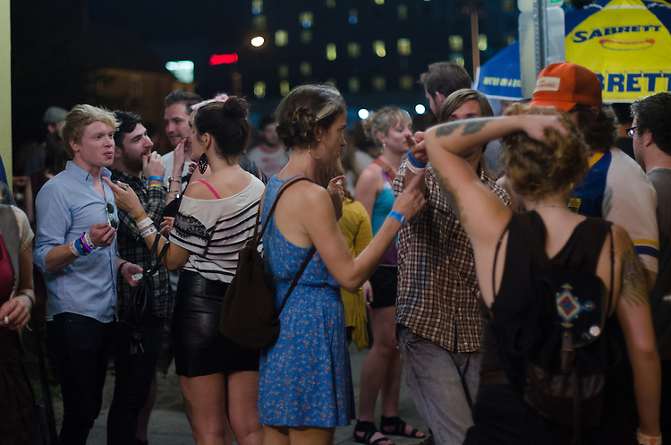 A crowd gathers outside Lincoln Theatre during the Hopscotch Music Festival in Raleigh, North Carolina. September 7, 2012.