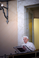 Pope Benedict XVI blesses the pilgrims gathered for his Regina Coeli prayer in the courtyard of Pontiff's residence in Castelgandolfo, south of Rome, on April 5, 2010. Pope Benedict XVI is facing growing anger over the Catholic Church's sexual abuse scandal and allegations that the church hierarchy worked to cover up crimes committed by their priests.