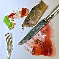 """Vienna, Austria. The """"Steirereck"""" with award winning Chef Heinz Reitbauer Junior is probably Vienna's best restaurant. Gebratene Äsche mit Sesam, Poveraden & Roseneibisch (Pan-fried Grayling with Sesame, Baby Artichokes and Rosemallow.)"""
