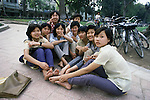 Group of girls pose in Hanoi, North Vietnam.  (Jim Bryant Photo).....