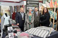 from left, Mayor Ray Wallace, Cheryl Eldridge, Jack Yan and Andrea Leader, New Zealand Eco Fashion Exposed Opening Function at 151 High Street, Lower Hutt, New Zealand on Wednesday 23 July 2014. <br /> Photo by Masanori Udagawa. <br /> www.photowellington.photoshelter.com.