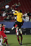 12 December 2008: Neal Kitson (1) of St. John's fits an air ball out of the box area.  The University of Maryland Terrapins defeated the St. John's University Red Storm 1-0 during the second sudden death overtime at Pizza Hut Park in Frisco, TX in an NCAA Division I Men's College Cup semifinal game.