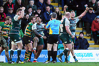 Leicester Tigers players celebrate at the final whistle. Aviva Premiership match, between Northampton Saints and Leicester Tigers on April 16, 2016 at Franklin's Gardens in Northampton, England. Photo by: Patrick Khachfe / JMP