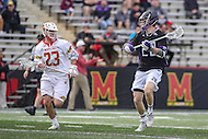 College Park, MD - February 18, 2017: High Point Panthers Nick Basile (28) passes the ball during game between High Point and Maryland at  Capital One Field at Maryland Stadium in College Park, MD.  (Photo by Elliott Brown/Media Images International)