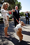 California First Lady Anne Gust Brown, left, shows off their dog, Sutter, as Gov. Brown looks on as they arrive at the Sacramento County Registrar of Voters to deliver petitions for Gov. Brown's initiative to temporarily raise income taxes on high earners and increase sales taxes for four years in Sacramento, Calif., May 10, 2012.