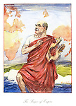 The Singer of Empire. (an InterWar cartoon shows Rudyard Kipling playing a classical Greek lyre at the cliffs of Dover while he imagines Britain isolated on a map of the world while wearing a red toga)