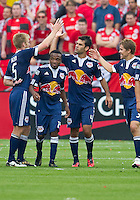 21 August 2010: New York Red Bulls celebrate a goal by New York Red Bulls defender/midfielder Rafael Marquez #4 during a game between the New York Red Bulls and Toronto FC at BMO Field in Toronto..The New York Red Bulls won 4-1.