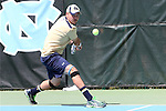 05 April 2015: Notre Dame's Billy Pecor. The University of North Carolina Tar Heels hosted the University of Notre Dame Fighting Irish at Cone-Kenfield Tennis Center in Chapel Hill, North Carolina in a 2014-15 NCAA Division I Men's Tennis match. UNC won the match 5-2.