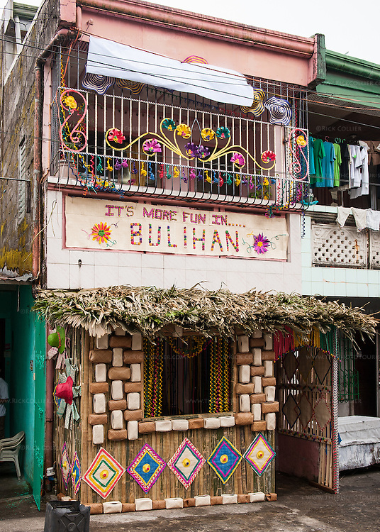 Sampaloc export organizer Dulce Gagan has decorated her home with buri products for the Bulihan home decorating contest.  (The house earned an honorable mention prize.)  (Sampaloc, Quezon Province, the Philippines.)