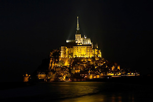 Picture of Mont St Michael France at night