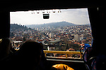 A view from above Sarajevo on an international bus to Belgrade from the Serbian suburb of East Sarajevo.