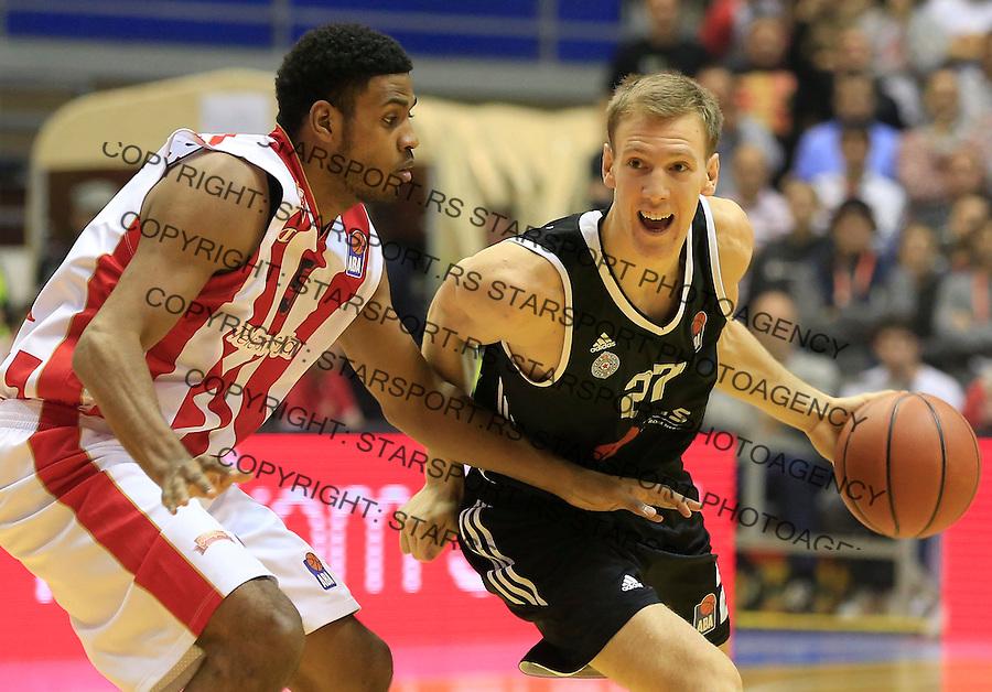 Kosarka ABA League season 2015-2016<br /> Crvena Zvezda v Partizan<br /> Adin Vrabac (R) and Ryan Thompson<br /> Beograd, 03.11.2015.<br /> foto: Srdjan Stevanovic/Starsportphoto&copy;