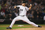 CHICAGO - OCTOBER 12:  Mark Buehrle of the Chicago White Sox  pitches during Game 2 of the American League Championship Series against the Los Angeles Angels of Anahiem at U.S. Cellular Field on October 12, 2005 in Chicago, Illinois.