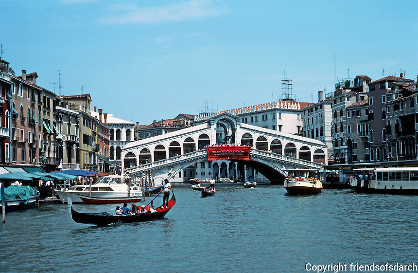 Venice:  #3.  The Grand Canal--Rialto Bridge.  Photo '83.