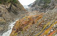 Moody views of Franz Josef Glacier, Westland Tai Poutini National Park, West Coast, South Westland, UNESCO World Heritage Area, New Zealand, NZ