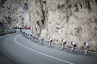 peloton snaking through the rock formations along the Ligurian Sea<br /> <br /> 108th Milano - Sanremo 2017