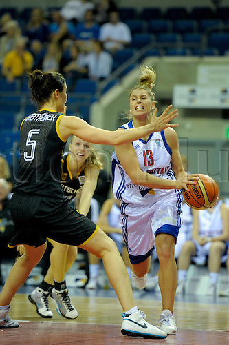 26.08.2010 Great Britain take on Germany in the Eurobasket Women 2011 Qualifiers at the Echo Arena in Liverpool. Leedham on the offensive.