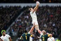 Joe Launchbury of England wins the ball at a lineout. Old Mutual Wealth Series International match between England and South Africa on November 12, 2016 at Twickenham Stadium in London, England. Photo by: Patrick Khachfe / Onside Images