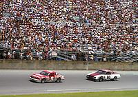 Bill Elliott 9 Greg Sacks 10 action Pepsi Firecracker 400 at Daytona International Speedway in Daytona Beach, FL on July 4, 1985. (Photo by Brian Cleary/www.bcpix.com)
