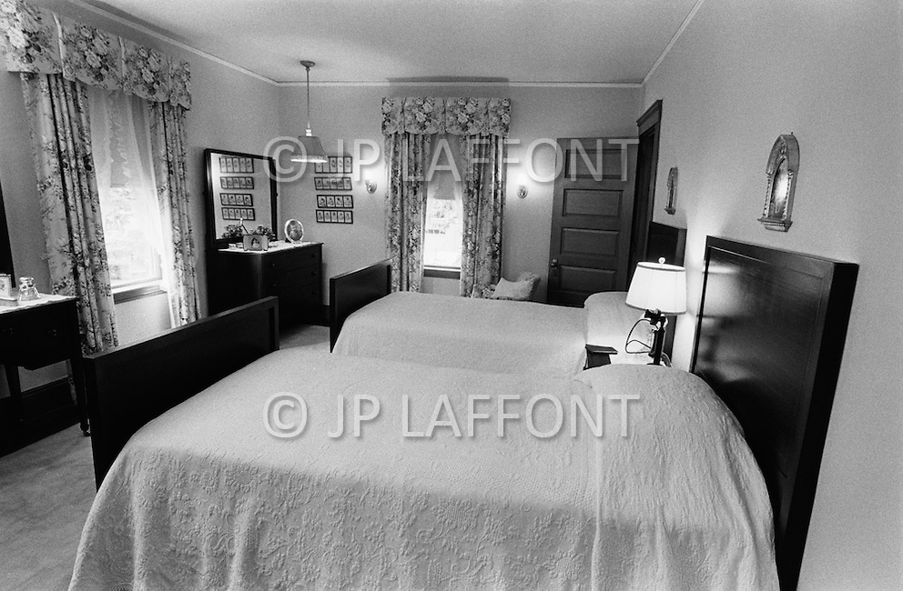 June 1970, Brookline, Massachusetts, <br /> The matching beds of Joseph and Rose Kennedy, parents of John F. Kennedy and his siblings, are side by side in the J.F. Kennedy Birthplace Historic Site, the three story house in Brookline in which US President Kennedy was born. After JFK's death, the Kennedy family bought back the house at 83 Beals Street from the then owners and turned it into a museum of the Kennedys' childhoods.