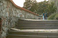 Europe, Slovakia, capitol city - Bratislava.castle steps and entry ramp..
