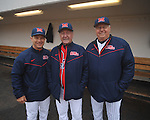 Head coach Mike Bianco (left) and former coaches and players Jake Gibbs (center) and Don Kessinger at the Ole Miss baseball alumni game at Oxford-University Stadium in Oxford, Miss. on Saturday, February 5, 2011.