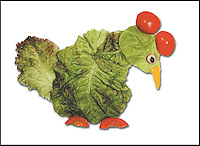 "BNPS.co.uk (01202 558833).Pic: DanielRicon/BNPS..***Please Use Full Byline***..Chicken...Leonardo Da Veggie!..An artist has transformed humble salad ingredients into works of art in a bid to encourage children to eat their greens...Daniel Ricon bought bags of lettuce, tomatoes, carrot, and cucumber and began layering them on a plate to make the healthy snacks seem more exciting...He created impressive pictures of animals including a cucumber crocodile, and a runner bean lion...Daniel also made a cat, duck, crab, owl, lion, rabbit, penguin, fish, cock, and even a martian...After completing each plate he took a picture and posted it to his website to document his wacky artwork...Daniel, 60, a visual artist from Paris in France, said: ""I have used flowers, leaves, stones, shells, hands, sweets and cakes in my work and it resulted in me working with vegetables...""Working with vegetables is to present a fun way to eat food to children and invite them to try unusual things...""The goal is to make a dish salad to encourage children to eat everything, the subjects are placed on a plate to be eaten......"