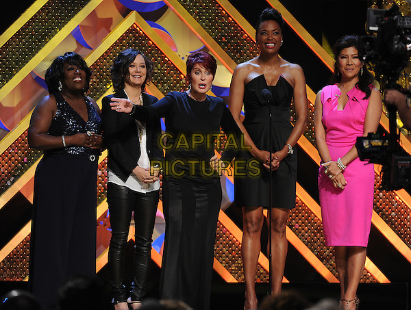 BURBANK, CA - APRIL 26: (L-R) Sheryl Underwood, Sara Gilbert, Sharon Osbourne, Aisha Tyler, and Julie Chen of The Talk appear on the 42nd Annual Daytime Emmy Awards at the Warner Bros. Studio Lot on April 26, 2015 in Burbank, California. <br /> CAP/MPI/PGFM<br /> &copy;PGFM/MPI/Capital Pictures