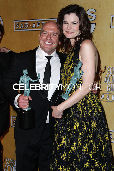 LOS ANGELES, CA - JANUARY 18: Dean Norris, Betsy Brandt in the press room at the 20th Annual Screen Actors Guild Awards held at The Shrine Auditorium on January 18, 2014 in Los Angeles, California. (Photo by Xavier Collin/Celebrity Monitor)
