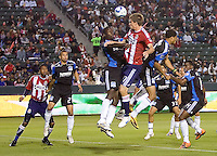 San Jose Earthquakes defender Ike Opara (6) and CD Chiavs USA forward Justin Braun (17) battle in the box. CD Chivas USA defeated the San Jose Earthquakes 3-2 at Home Depot Center stadium in Carson, California on Saturday April 24, 2010.  .