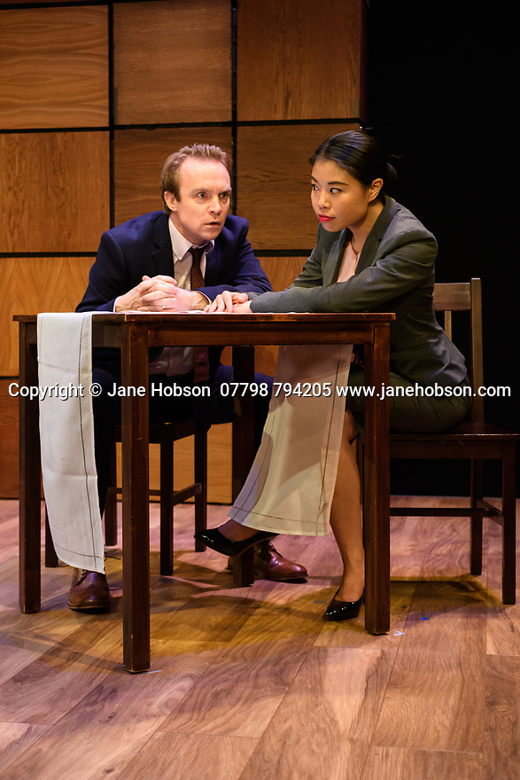 """London, UK. 22.03.2017. """"CHINGLISH, by David Henry Hwang, opens at the Park Theatre. Directed by Andrew Keates, with lighting design by Christopher Nairne and set and costume design by Tim McQuillen-Wright. Picture shows:  Gyuri Sarossy (Daniel), Candy Ma (Xi Yan). Photograph © Jane Hobson."""