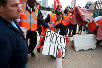 Electricians and their supporters block the main entrance of the Westbourne Park Crossrail project to protest over sackings the previous Friday. The protesters claimed that electrical contractor E.I.S. had sacked 28 union mebers for raising legitimate safety concerns at the project.