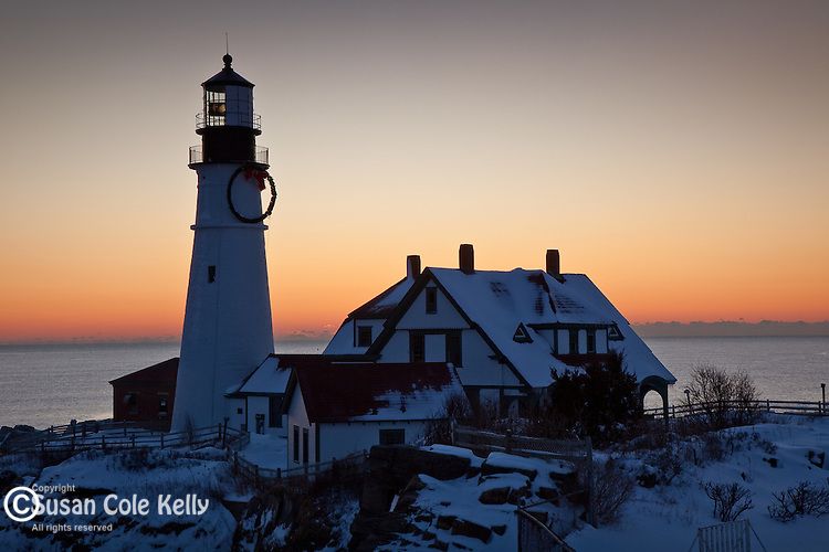 A winter sunrise on Portland Head Light in Cape Elizabeth, Greater Portland, ME, USA