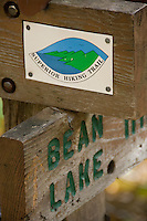 Hiking backpacking the Superior Hiking Trail along Minnesota North Shore near Two Harbors Duluth Grand Marais Minnesota.
