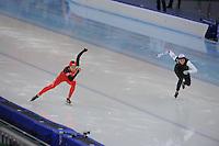 SPEEDSKATING: SOCHI: Adler Arena, 24-03-2013, Essent ISU World Championship Single Distances, Day 4, 500m Ladies, Beixing Wang (CHN), Heather Richardson (USA), © Martin de Jong